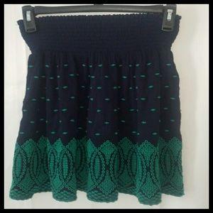 J CREW Navy Green Gauze Eyelet Mini Skirt